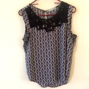 Maurice's Sleeveless Top Aztec Print Knitted Yoke